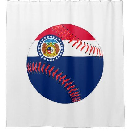 Missouri Flag Baseball Shower Curtain Baseball Shower Curtains
