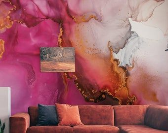Extra Large Pink Purple Gold Marble Vinyl Wallpaper Wall Sticker Decor Ceiling Wall Mural Exclusive Design Photo Wallpaper Abstract Wallpaper Wallpaper Modern Art Abstract