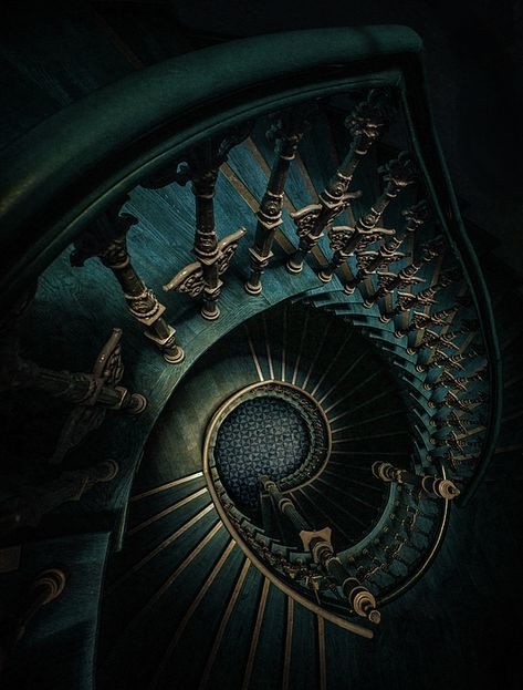 Golden and blue staircase by Jaroslaw Blaminsky Harry Potter Houses, Hogwarts Houses, Draco Harry Potter, Albus Severus Potter, Draco Malfoy Aesthetic, Slytherin Aesthetic, Dark Green Aesthetic, Aesthetic Colors, Slytherin House