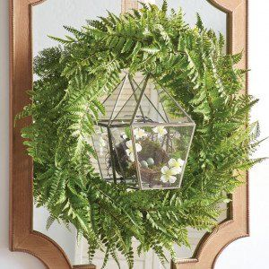 Faux Fern Wreath Cute With The Glass Box With Nest Attached Farmhouse Style Decorating Large Wreath Farmhouse Decor