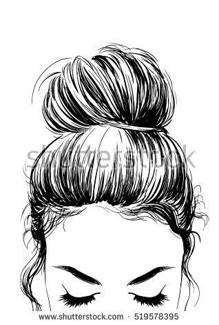 Messy Bun Outline : messy, outline, Amazing, Drawing, Hairstyles, Characters, Ideas, Hairstyles,, Buns,