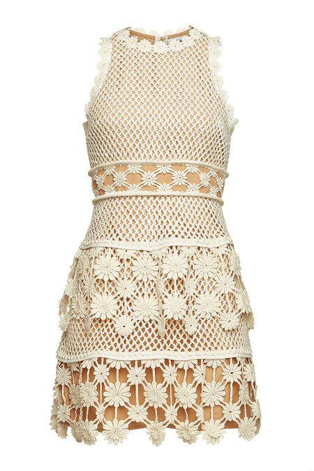 Self Portrait 3d Floral Crochet Mini Dress With Lace White Mini Dress Crochet Top Dress Floral Lace Skirt