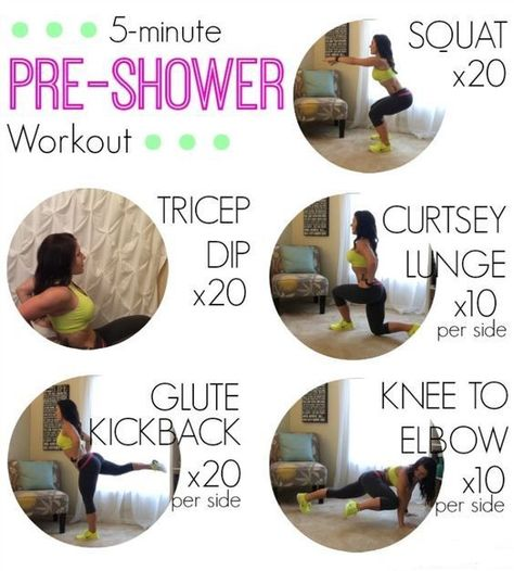 5 minute pre shower workout (could be adapted to HIIT or tabata) Fitness Pal, Fitness Workouts, Fitness Diet, At Home Workouts, Fitness Motivation, Health Fitness, Morning Workouts, Quick Workouts, Quick Morning Workout