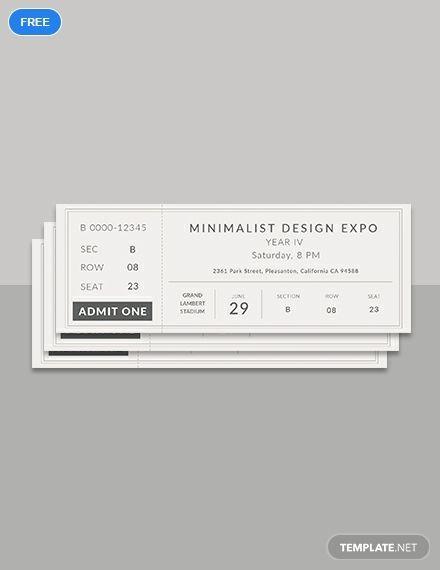 Free Minimalist Ticket Ticket Design Ticket Template Ticket