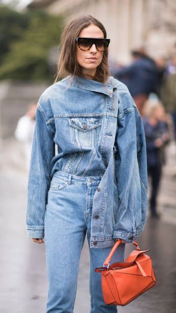 Erika Boldrin wearing a denim look seen in the streets of Paris during the Paris