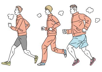 ランニングする男子体育会系大学生のかわいい線画イラスト ...