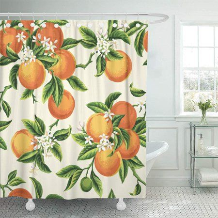 Home Orange Shower Curtain Green Shower Curtains Yellow Blossom