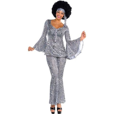 Boogie and jive all night long in our Dancing Queen Disco Costume! Adult Dancing Queen Disco Costume features flare bottom pants and sequins.