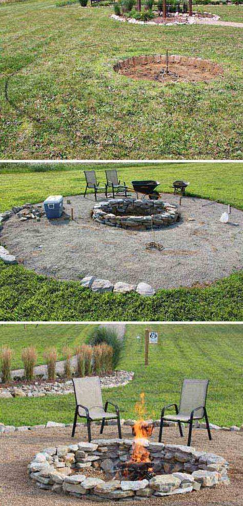 Feuerstelle mit Bänken Garten Terasse Pinterest Garten and Gardens - feuerstelle garten naturstein