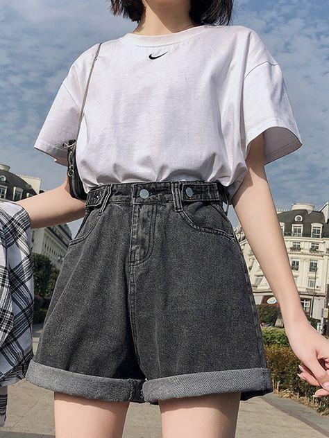 14.87US $ 15% OFF|Streetwear High Waist Wide Leg Denim Shorts For Women 2020 New Jean Shorts Women Summer Korean Style Women Loose Short Shorts|Shorts|   - AliExpress