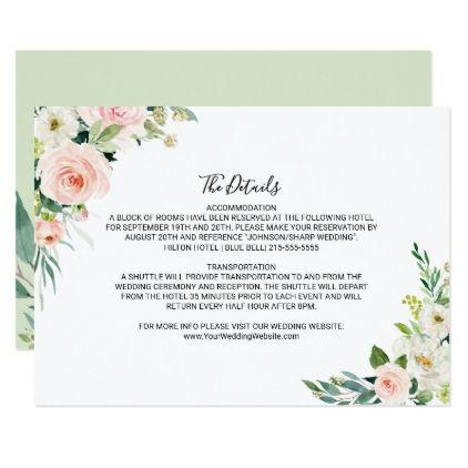 Greenery Elegant Wedding Details Insert Card Blush Wedding Details Wedding Details Elegant Wedding