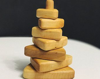 Natural Wood Toy Ring Stacker Wooden Toy Wooden Stacking Toy