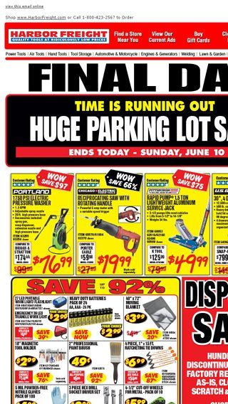 Harbor Freight Christmas Eve Hours.Final Day Huge Parking Lot Sale Ends Today Harbor