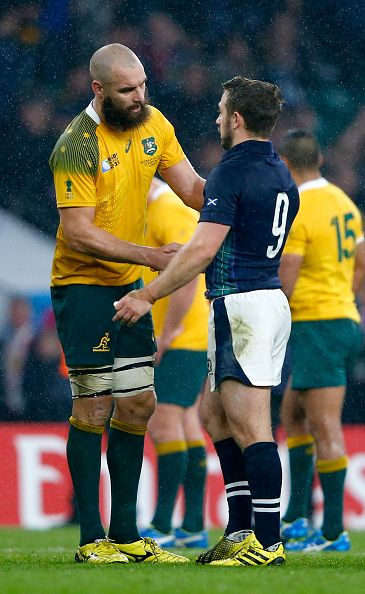 Scott Fardy of Australia shakes hands with Greig Laidlaw of Scotland after the 2015 Rugby World Cup Quarter Final match between Australia and.