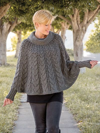 Forevermore Poncho embraces a wishful idea to bask everlastingly in the delightful hues of autumn. This flowing poncho of mixed texture is knitted in the round, shaped by gradually expanding lace patterns, to create a luxurious and stylish classic. K...