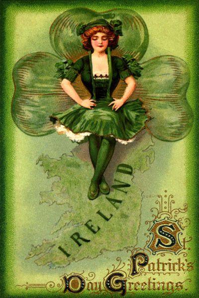 IRELAND MAP IRISH GIRL GREEN DRESS SHAMROCK ST PATRICK DAY VINTAGE POSTER REPRO