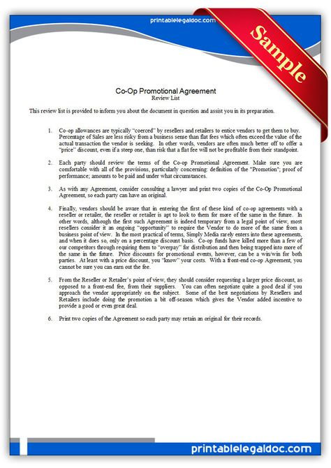 Free Printable Co-op Promotional Agreement Legal Forms Free - free medical form templates