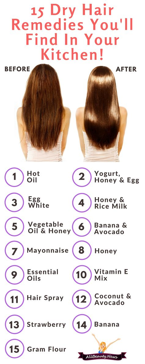 15 all-natural dry hair remedies that can save you using expensive hair products or a visit to the salon. These DIY beauty hacks work!