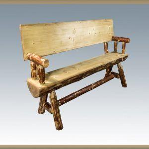 Rustic Pine Half Log Benches W Backs Sisters Log Furniture Log Benches Outdoor Furniture Log Furniture Rustic Outdoor Furniture