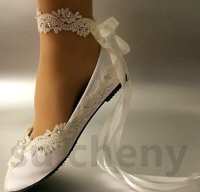 Su Cheny Light Ivory White Satin Lace Flat Ballet Wedding Shoes Bridal Size 5 12 Ballet Wedding Shoes Wedding Shoes Bridal Shoes