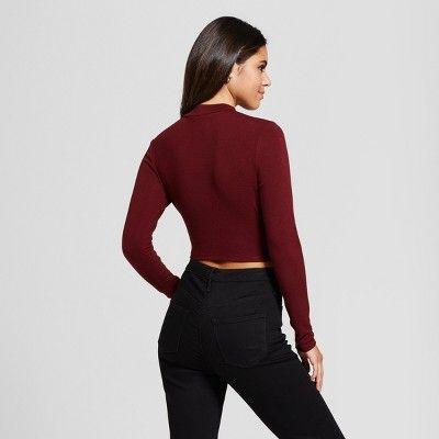 Women's Wrap Front Cropped Sweater - Xhilaration (Juniors') Berry ...