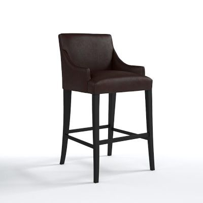Belvedere Dining Stool Bar Ebony Tuscan Leather Chocolate Bar