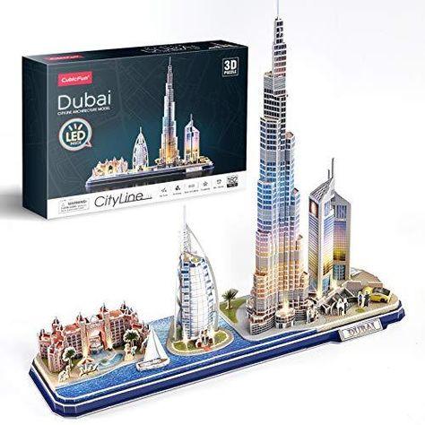 CubicFun 3D Puzzle LED Cityline Architecture Decor Gifts for Adults and Kids - UAE   Dubai Cityline