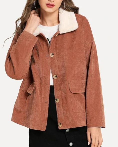 Corduroy Plush Patchwork Solid Color Coat For Women – Prilly outwear fashion outwear jacket warm coat outfit coats for women #fallcoats#warm#casualcoats