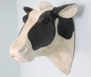 Fantastic Friesian Cow Head Resin Faux Taxidermy Wall Hanging Country Decor Cow Faux Taxidermy Cow Head