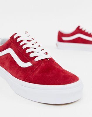 vans old skool femme rouge daim