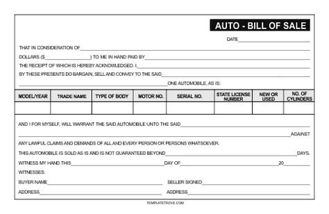 Printable Sample Free car bill of sale template Form Business - sample auto bill of sale