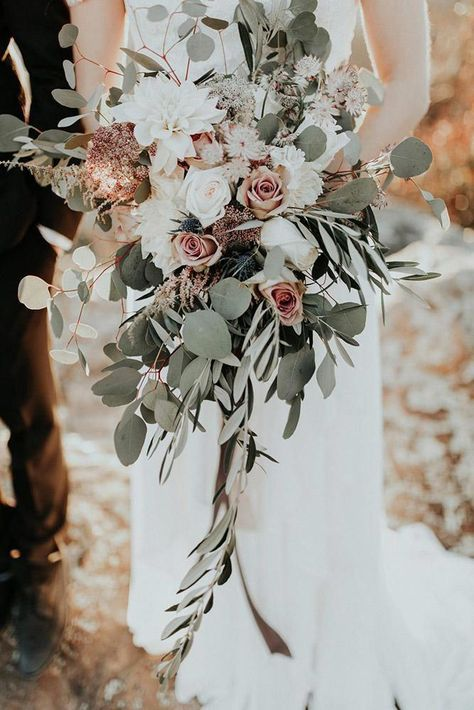 Greenery Wedding Ideas That Are Actually Gorgeous---greenery and dusty rose wedding bouquet for fall weddings, woodland wedding ideas Boho Wedding Bouquet, Bridal Bouquet Fall, Fall Wedding Flowers, Wedding Flower Arrangements, Wedding Centerpieces, Wedding Bride, Gold Wedding, Wedding Decorations, Wedding Themes