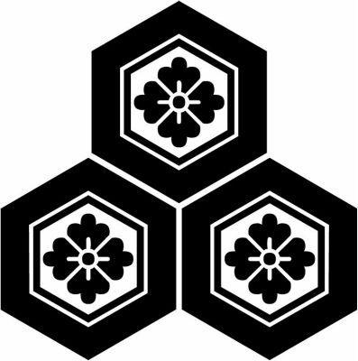 家紋 三つ盛り亀甲に花角 Mitsumorikikko Ni Hanakaku 家紋