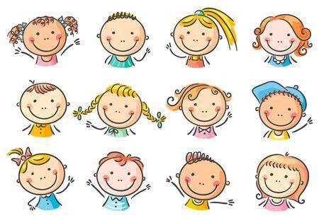 Conjunto De 12 Caras Felices De Los Ninos De Dibujos Animados Ninos Felices Dibujos Caras Felices Ninos Dibujos Animados