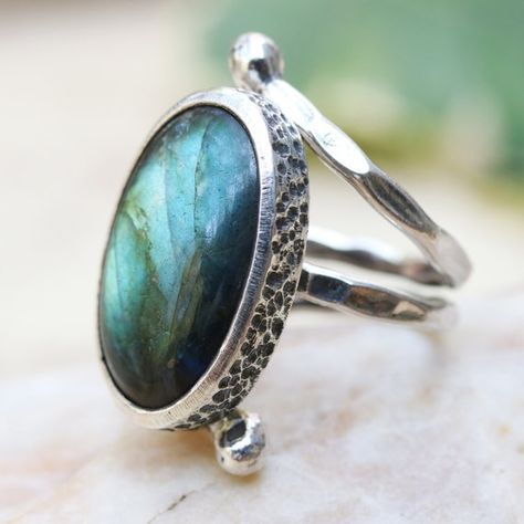 Oval cabochon labradorite ring in silver bezel setting with sterling silver wrap band/TP