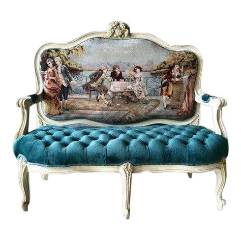 A wonderful custom made Louis XVI Sofa. The sofa was upholstered with French century Parisian Castle imagery gobelin and tufted velvet. The size of the sofa is about: × × Elegant Home Decor, Elegant Homes, Settee Sofa, Couch, Poltrona Bergere, Painted Furniture, Home Furniture, Baroque Furniture, Decoration Baroque