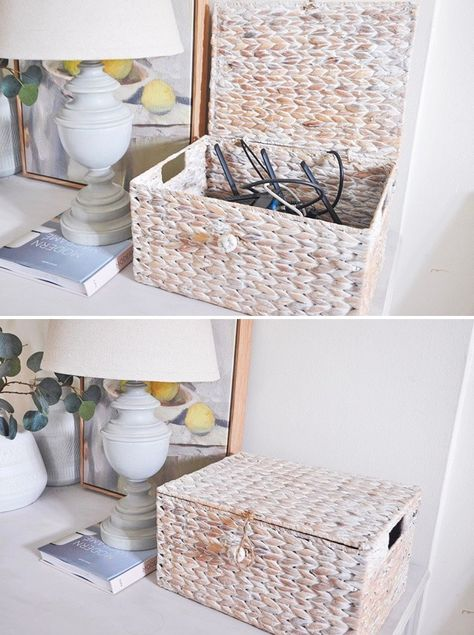 A simple and easy way to hide modem and router. Tap into this post to learn how to hide your not-so-pretty modem and wifi router without losing the signal. boxes to hide cords How to Hide Modem and Router in A Stylish Way - hydrangea treehouse Hide Tv Cords, Hide Tv Cables, Hide Cable Box, Hide Wires, Hiding Cords, Hiding Cables, Smart Home Design, Home Office Design, Home Office Decor