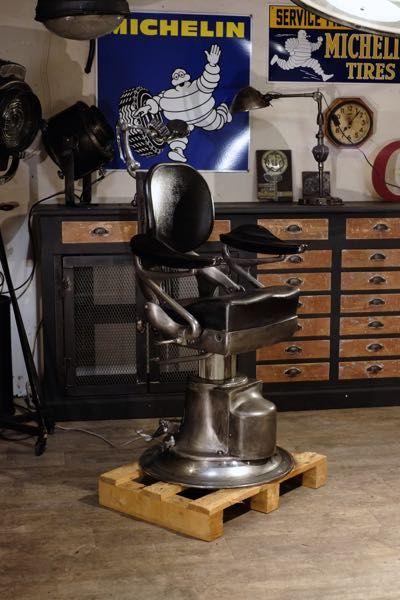 Fauteuil De Barbier Ancien 1930 Luminaire Industriel Industriel