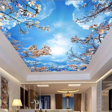 Custom Wallpaper Blue Sky White Clouds Cherry Blossoms Ceiling Mural (㎡) #ceilingdesign #ceilingideas #wallmurals #sky #wallpaperideas #cherryblossom