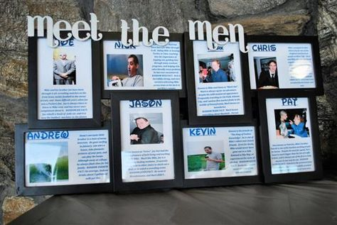What a fabulous idea! Meet the Men and Meet the Maids photos...such a great way for guests to learn a bit about the wedding party if they aren't familiar with them! #weddingideas