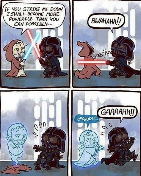 """heelp me"" Vader screamed as his former master chased him"