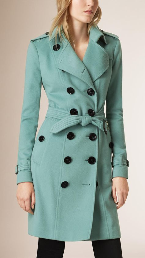 053cf5cc654 Cashmere Trench Coat Dusty Mint