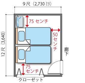 シングルベッド2台の6畳の主寝室 レイアウト 6畳 レイアウト 寝室 レイアウト