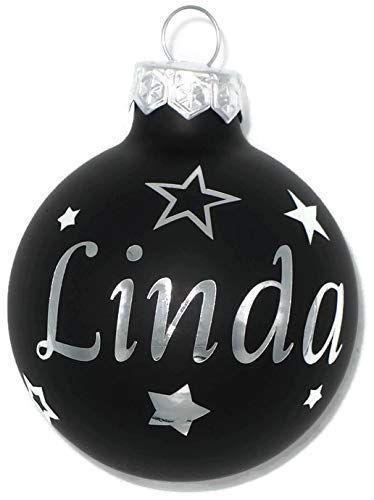 Weihnachtskugel mit Name aus Glas 6cm Wunschtext Schwarz Matt