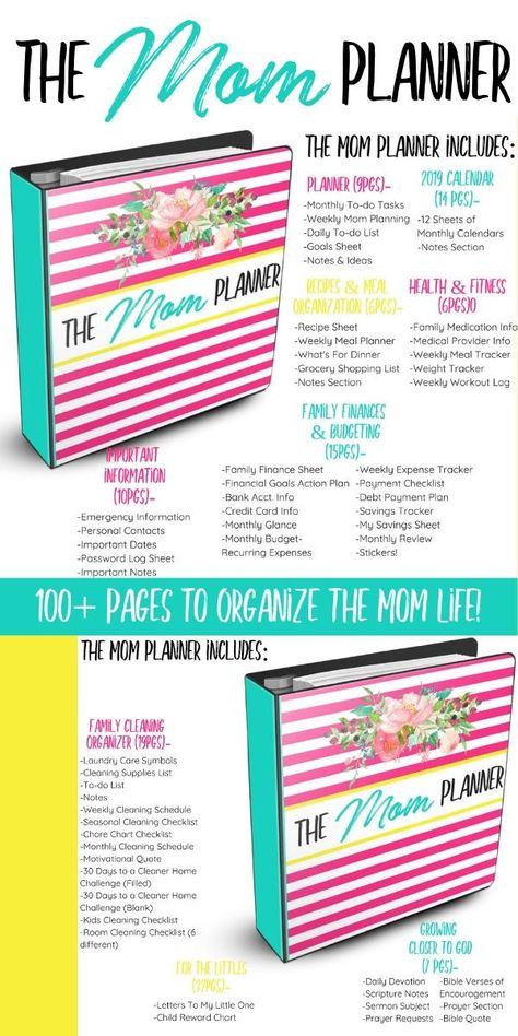 The perfect solution to organize all things mom. From creating a budget to maintaing a cleaning schedule, keeping your recipes & so much more...this planner HAS IT ALL.