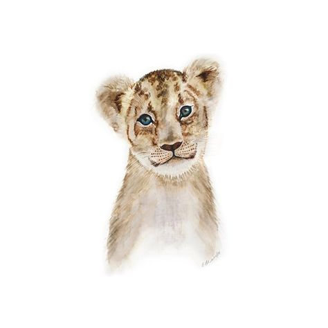 Lion Art Print, Safari Nursery Art, Kids Wall Decor, Lion Wall Art, Animal Art, Watercolor, Lion Art