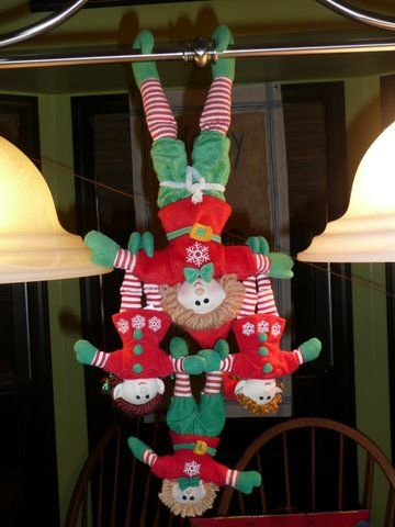 Elves are not afraid of heights and have a talent for hanging from anything and everything. Santa shared these quick and easy elf ideas.