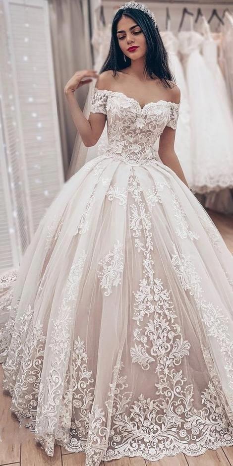 Ball Gown Wedding Dress With Off Shoulder Fashion Custom Made Bridal Dress Ydw0052 Popular Wedding Dresses Ivory Lace Wedding Dress Charming Dress