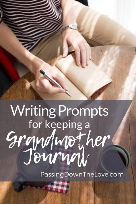 Things to write in your Grandmother Journal. What to include in a Grandmother Journal. Writing prompts, tips and ideas for keeping a Grandmother Journal. Your feelings, memories, and stories for your Grandmother Journal First Time Grandma, New Grandma, Grandma Quotes, Cousin Quotes, Daughter Quotes, Father Daughter, Journal Writing Prompts, Writing Tips, Family History Book
