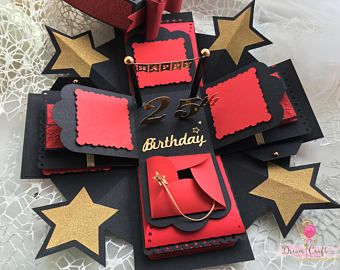 Red Exploding Photo Box, Explosion Box, Christmas Gift Photo Box, Anniversary present, Romantic Gift for him/her, Happy Birthday Pop up card